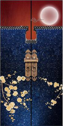 新中式古典建筑马头墙梅花玄关装饰画