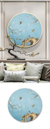新中式手绘工笔花鸟圆形装饰画
