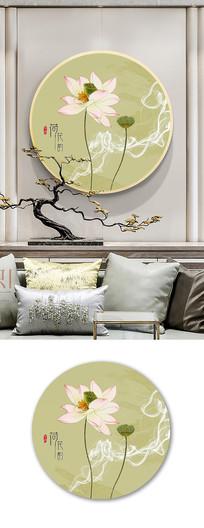 新中式意境圆形荷花装饰画无框画