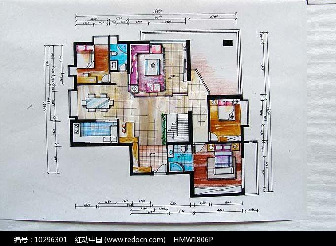 一层室内平面手绘图片