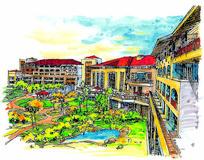 医院疗养院彩色手绘