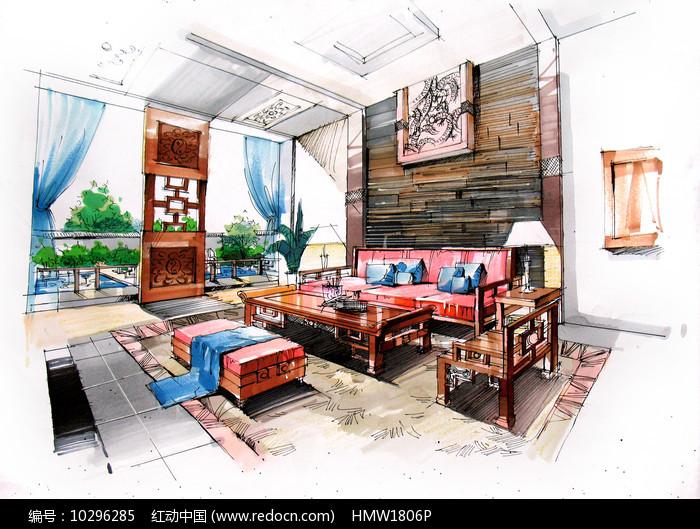 中式室内客厅手绘 图片