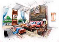 中式室内客厅手绘