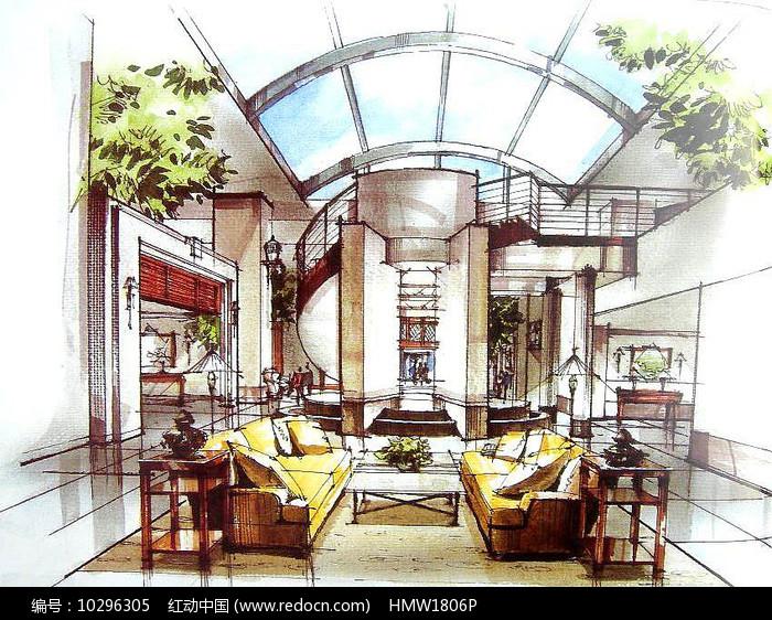 中式室内客厅手绘图片