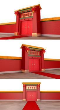 春節古建筑開門紅背景元素