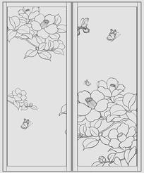 蝶戀花中式衣柜移門圖案