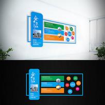 简约蓝色企业文化墙