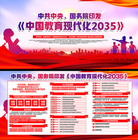 教育现代化2035宣传栏 PSD