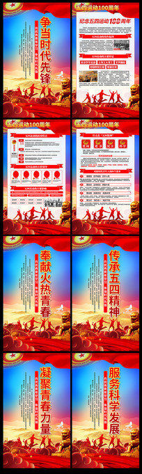 纪念五四运动100周年宣传展板