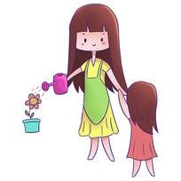卡通母女母亲节元素