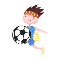 卡通手绘踢足球的小男孩元素