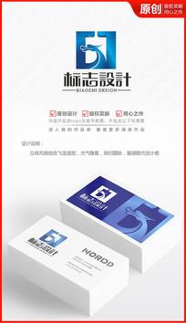 立体科技飞龙巨龙logo设计