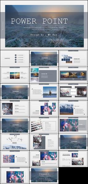 欧美杂志风画册通用PPT模板