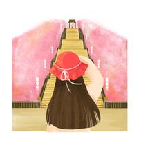 水彩女孩背影旅游插画元素