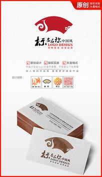 祥云扇形logo中国风标志设计