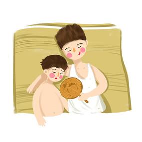 原创手绘父子睡觉父亲节父爱元素