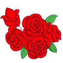 原创手绘红色玫瑰花情人节素材