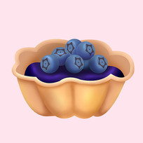 原创元素卡通甜点蓝莓派