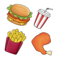 原创元素手绘汉堡套餐食物