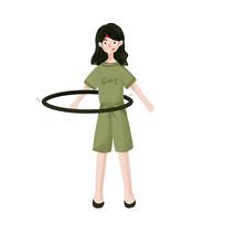 元素手绘转呼啦圈的女孩元素