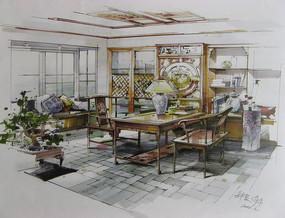 中式书房室内手绘