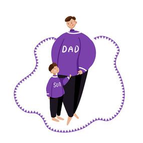 紫色原创手绘父亲节元素