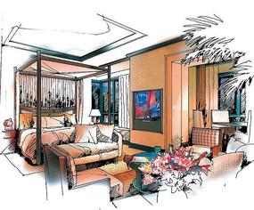 彩色室内卧室手绘