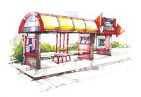 公交车站彩色手绘