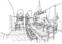 国外室内餐厅线稿