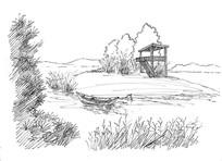 河流小溪线稿