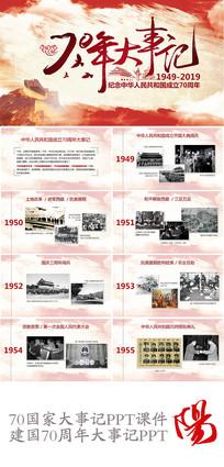建国70年大事记PPT学习课件模板