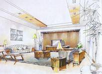 简约室内客厅彩色手绘