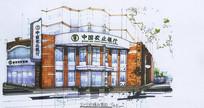 农业银行建筑手绘