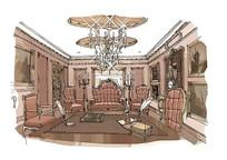欧式建筑室内手绘