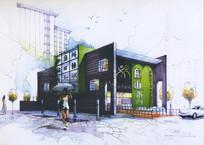 商业建筑手绘