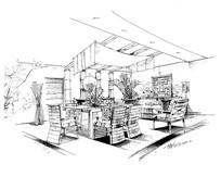 室内餐厅线稿