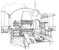 室内厨房线稿手绘