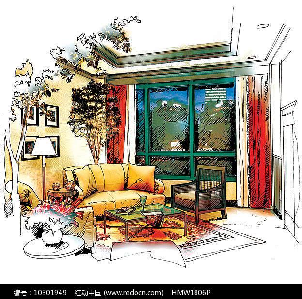 室内家装一角彩色手绘图片