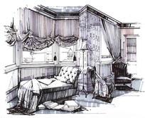 室内配景线稿