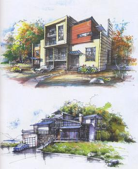 现代别墅彩色手绘