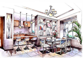 现代简约室内餐厅手绘