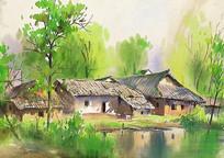 乡村小镇水彩画