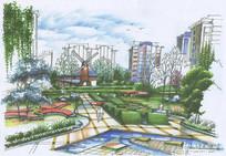 小区入口景观方案彩色手绘