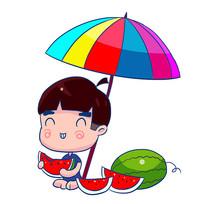 原创手绘夏季小男孩吃西瓜元素