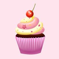 原创元素卡通甜点纸杯蛋糕
