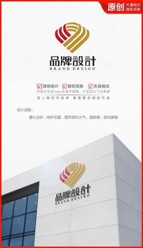 爱心交织logo设计商标标志设计