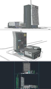 办公楼草图大师模型带CAD图