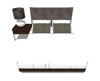 北欧风格的白色床铺黑色床头柜SU模型