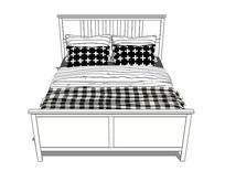 北欧风格的格子条纹床铺SU模型