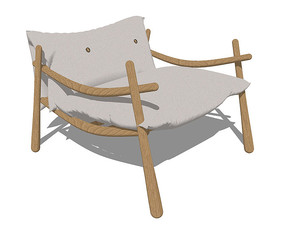 北欧风格的咖啡色扶手椅SU模型